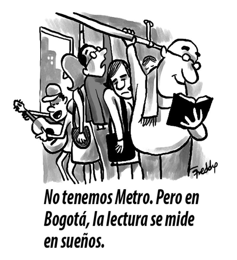 Caricatura de Freddy Ortega sobre la FILBo.