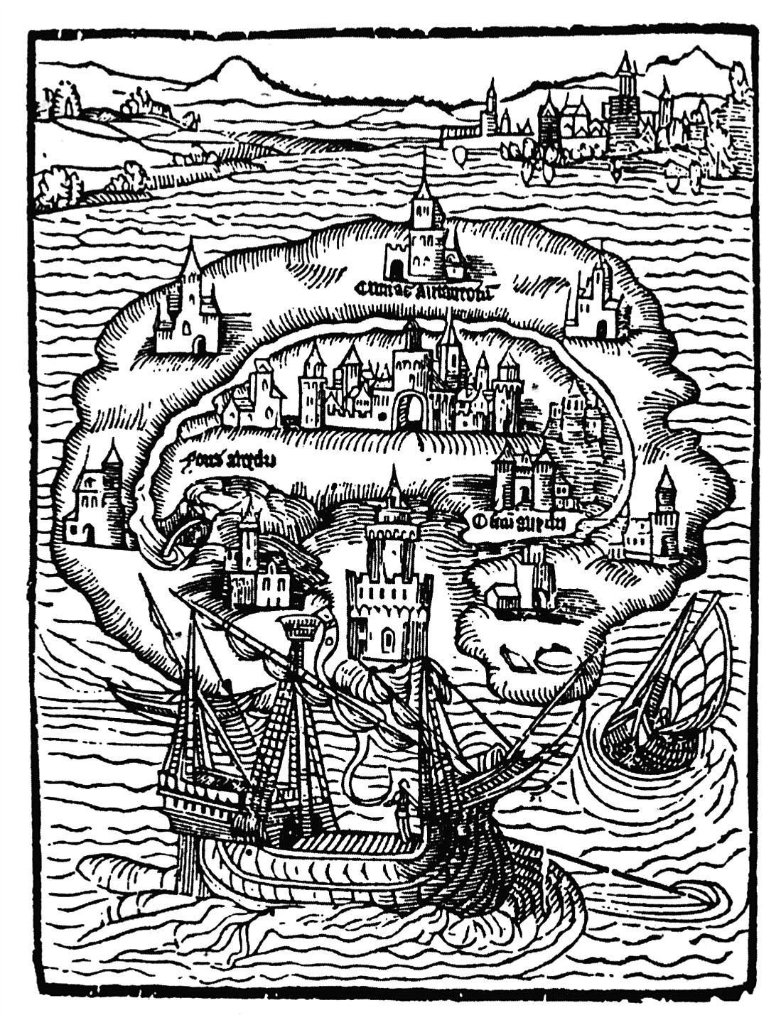 Ilustración de la isla Utopía, de Tomás Moro.