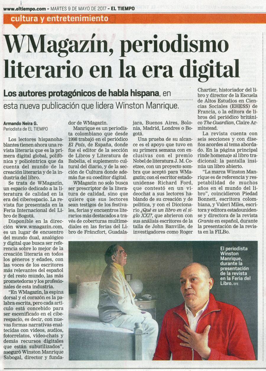Página del diario El Tiempo, de Colombia, dedicada a WMagazín.